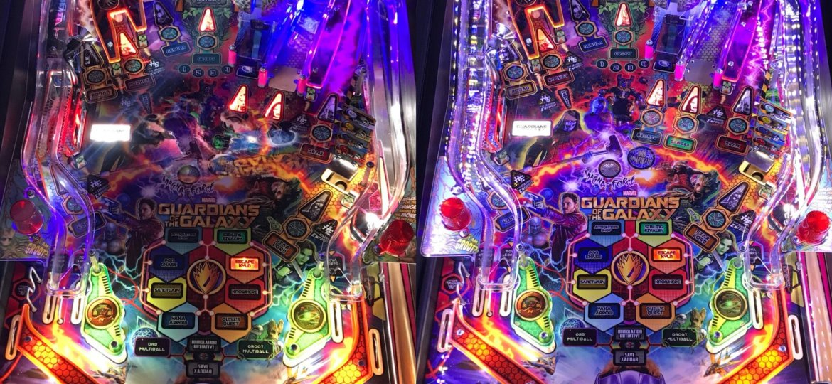 Stern Guardians of the Galaxy pinball machine with WiFi app controllable Pin Stadium lights installed. See the Before and After difference. www.pinstadium (1)
