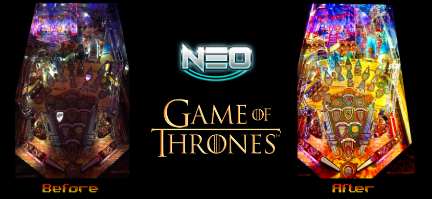 Game Of Thrones pinball machine before and after